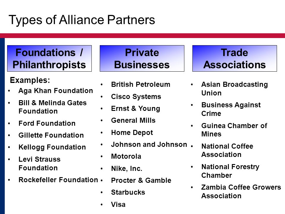 Types of Alliance Partners Examples: Foundations / Philanthropists Private Businesses Trade Associations Aga Khan Foundation Bill & Melinda Gates Foundation Ford Foundation Gillette Foundation Kellogg Foundation Levi Strauss Foundation Rockefeller Foundation British Petroleum Cisco Systems Ernst & Young General Mills Home Depot Johnson and Johnson Motorola Nike, Inc.