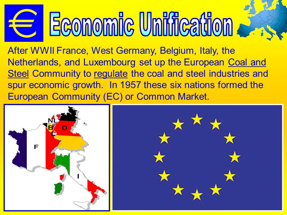 After WWII France, West Germany, Belgium, Italy, the Netherlands, and Luxembourg set up the European Coal and Steel Community to regulate the coal and