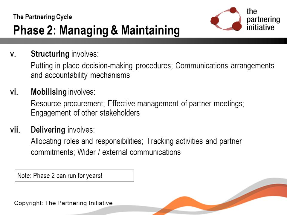 The Partnering Cycle Phase 2: Managing & Maintaining v. Structuring involves: Putting in place decision-making procedures; Communications arrangements