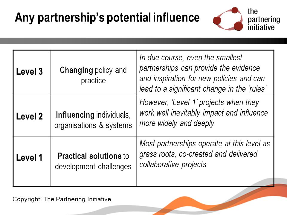 Any partnership's potential influence Level 3 Changing policy and practice In due course, even the smallest partnerships can provide the evidence and