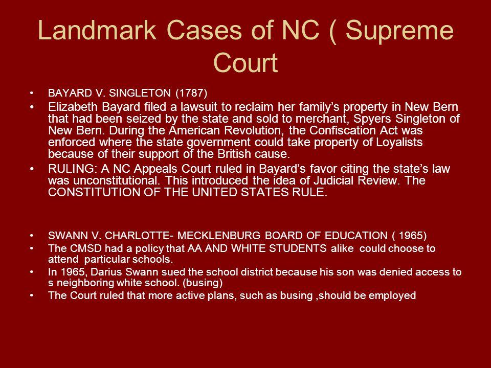 Landmark Cases of NC ( Supreme Court BAYARD V.