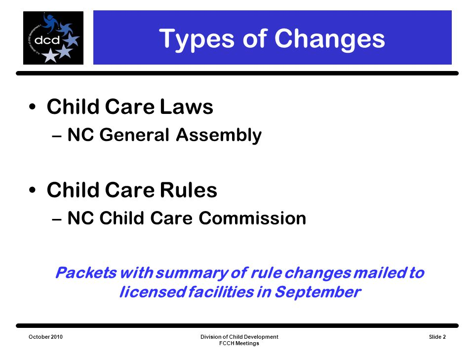 October 2010Division of Child Development FCCH Meetings Slide 3 NC General Statutes Nutrition Standards Responsible Individuals List Early Educator Certification