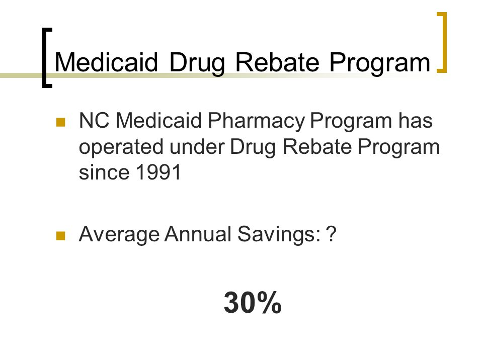 Medicaid Drug Rebate Program NC Medicaid Pharmacy Program has operated under Drug Rebate Program since 1991 Average Annual Savings: ? 30%