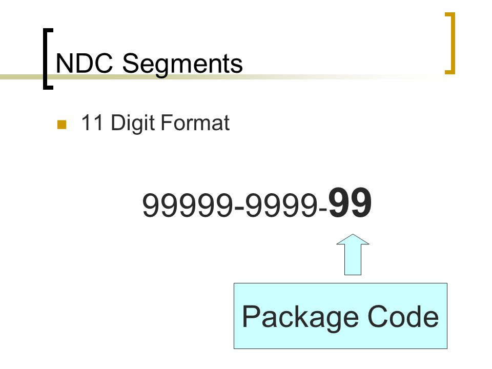NDC Segments 11 Digit Format 99999-9999 - 99 Package Code