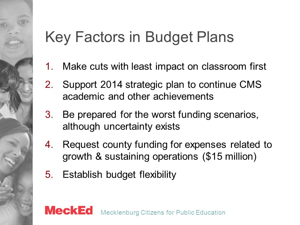 Mecklenburg Citizens for Public Education Key Factors in Budget Plans 1.Make cuts with least impact on classroom first 2.Support 2014 strategic plan t