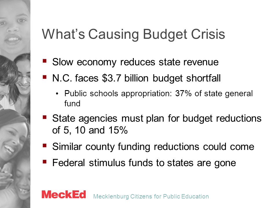 Mecklenburg Citizens for Public Education Outlook for 2011-12  Federal funding:  $15 million  State funding:  $32-95 million (5-15% cut of current funding )  County funding:  $15-45 million (5-15% cut of current funding)  $15 million increase needed to sustain operations, enrollment growth