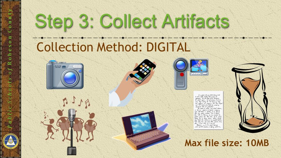 Public Schools of Robeson County Step 3: Collect Artifacts Collection Method: DIGITAL Max file size: 10MB