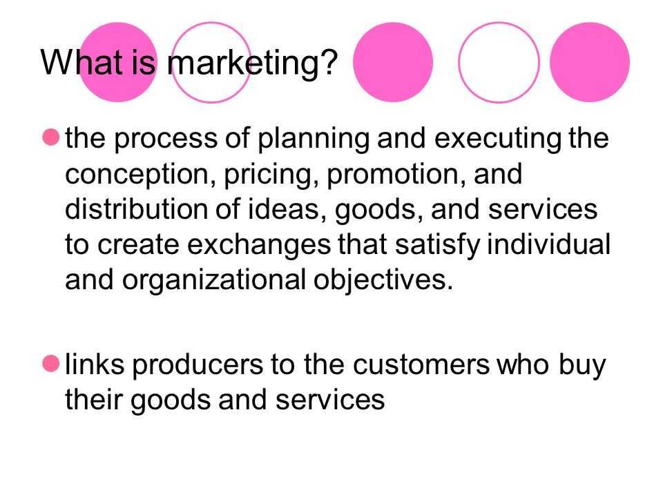 Marketing Activities (The 4 P's) Planning Considers the direction in which the firm is heading and how marketing lines up with that direction This thinking process provides the basis for all marketing goals and actions.