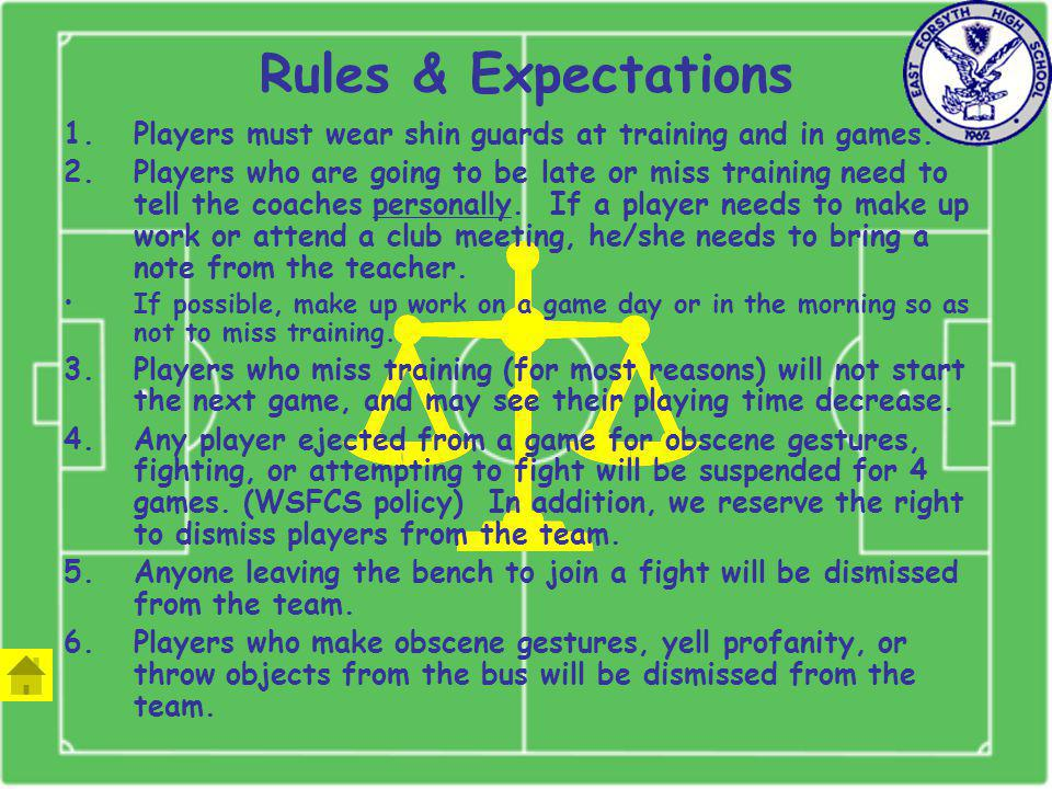 Rules & Expectations 1.Players must wear shin guards at training and in games.