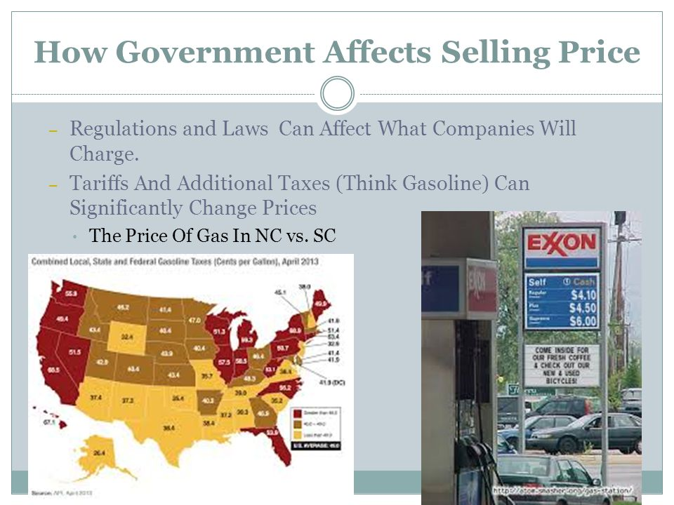 How Government Affects Selling Price – Regulations and Laws Can Affect What Companies Will Charge. – Tariffs And Additional Taxes (Think Gasoline) Can