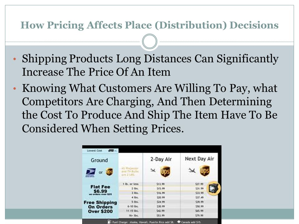 How Pricing Affects Place (Distribution) Decisions Shipping Products Long Distances Can Significantly Increase The Price Of An Item Knowing What Custo