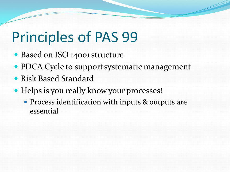 Structure of PAS 99 6 common requirements: Policy Planning Implementation & Operation Performance Assessment Improvement Management Review