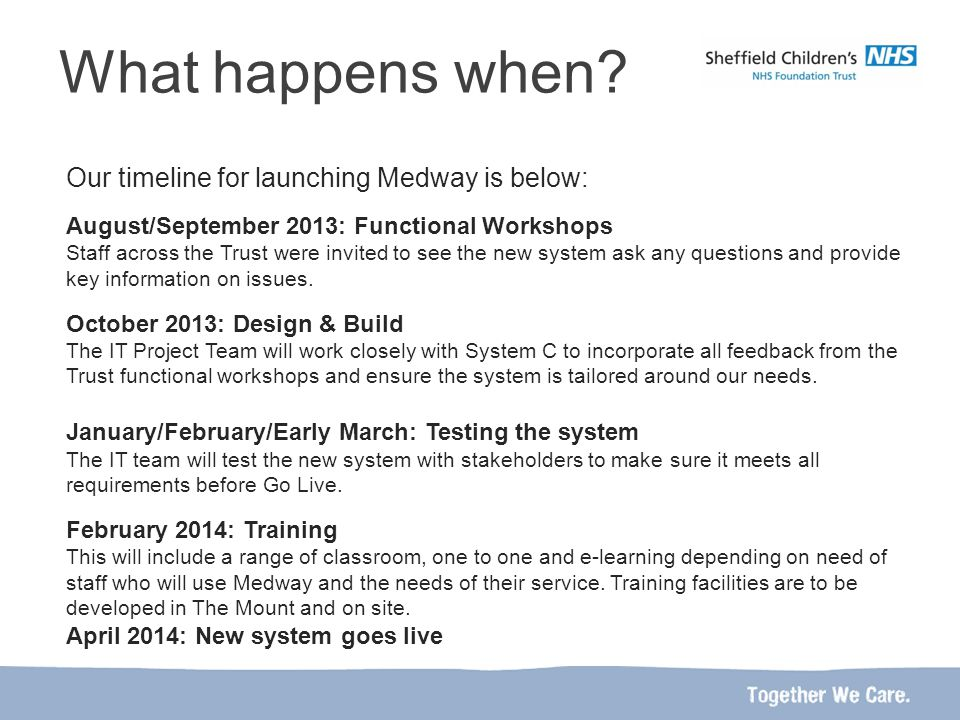 Our timeline for launching Medway is below: August/September 2013: Functional Workshops Staff across the Trust were invited to see the new system ask any questions and provide key information on issues.