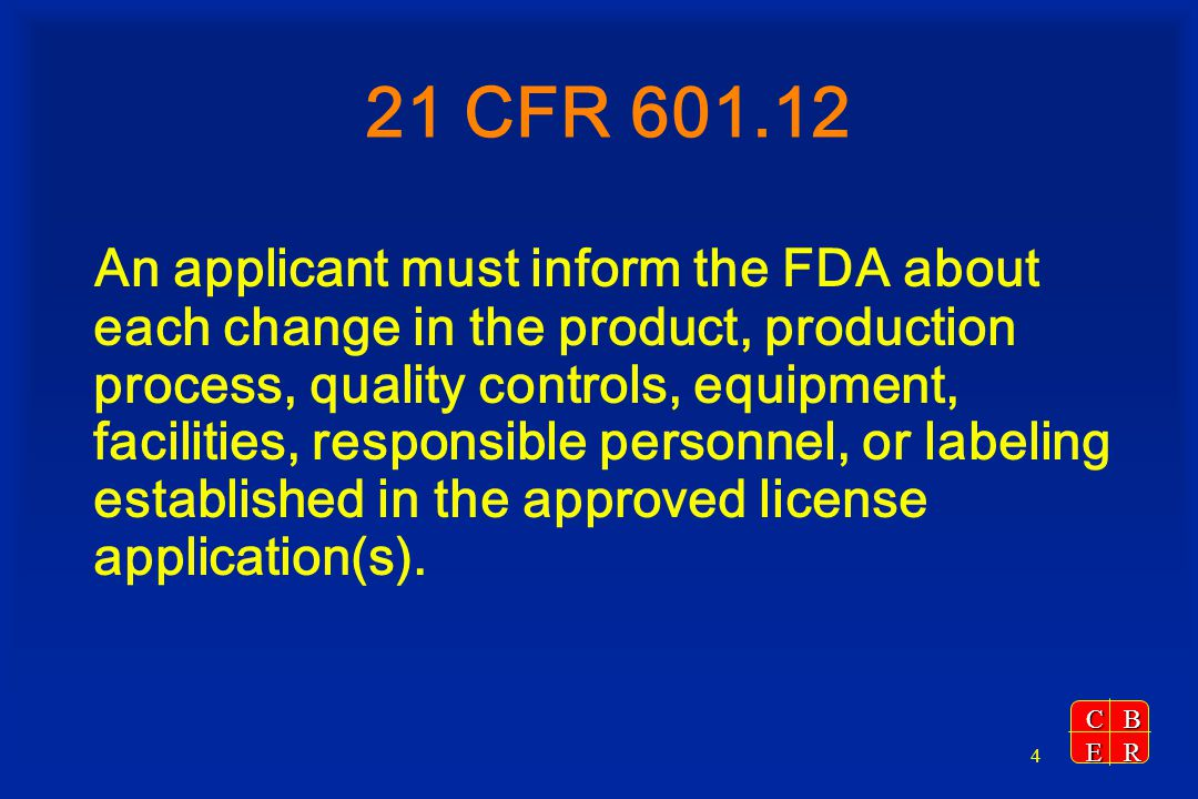 CBER 25 Deficiencies Identified During the CBE30, CBE, AR Review Deficiencies identified during the review – Change reported in wrong category (e.g., sent in as CBE30 but should have been a PAS) – Submission does not contain sufficient information to determine the effect of the change on the product Actions taken (21 CFR 601.12(c)(4 & 6)) – FDA will communicate with the applicant and inform them to not distribute product until the supplement has been approved or the additional information has been submitted – If no deficiencies are identified during the preliminary review but deficiencies that may adversely impact the product are identified during the in-depth review, FDA may order the manufacturer to cease distribution of the product