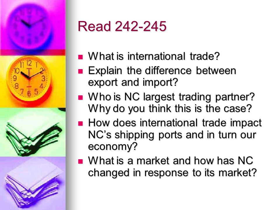 Read 242-245 What is international trade. What is international trade.