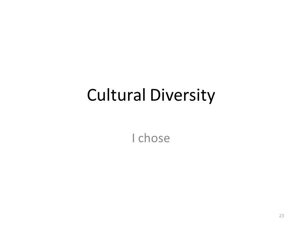 Cultural Diversity I chose 23
