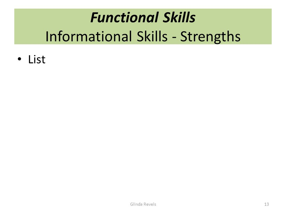 Functional Skills Informational Skills - Strengths List Glinda Revels13