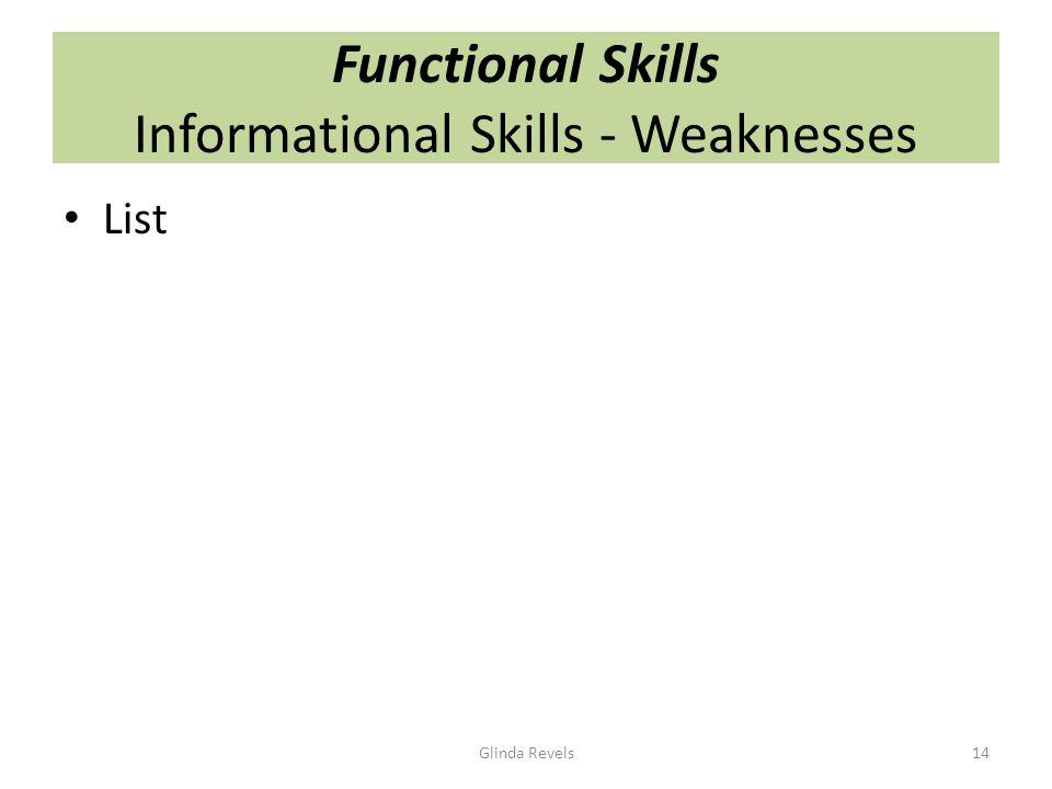 Functional Skills Informational Skills - Weaknesses List Glinda Revels14