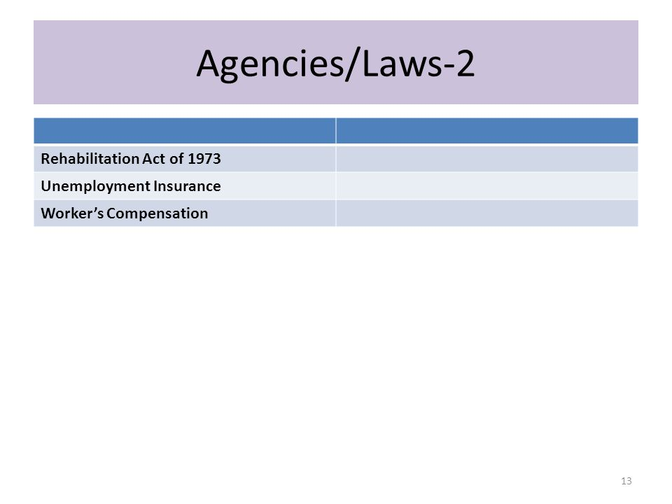 Agencies/Laws-2 Rehabilitation Act of 1973 Unemployment Insurance Worker's Compensation 13