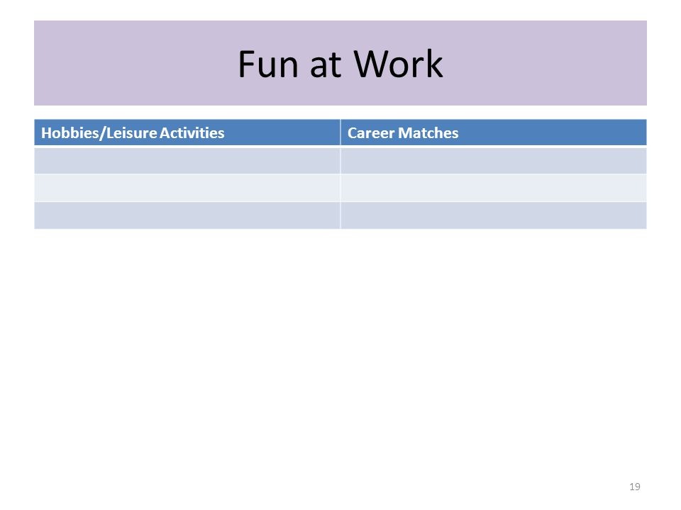 Fun at Work Hobbies/Leisure ActivitiesCareer Matches 19