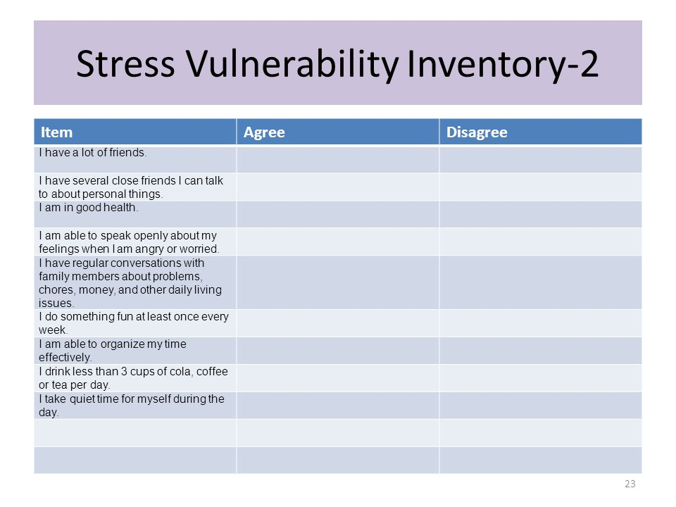 Stress Vulnerability Inventory-2 ItemAgreeDisagree I have a lot of friends. I have several close friends I can talk to about personal things. I am in
