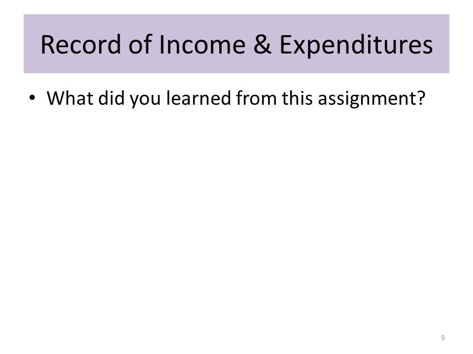 Record of Income & Expenditures What did you learned from this assignment? 9