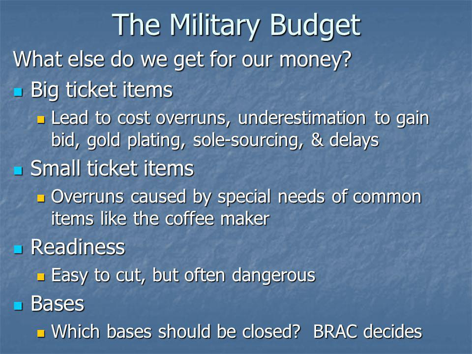 The Military Budget What else do we get for our money.