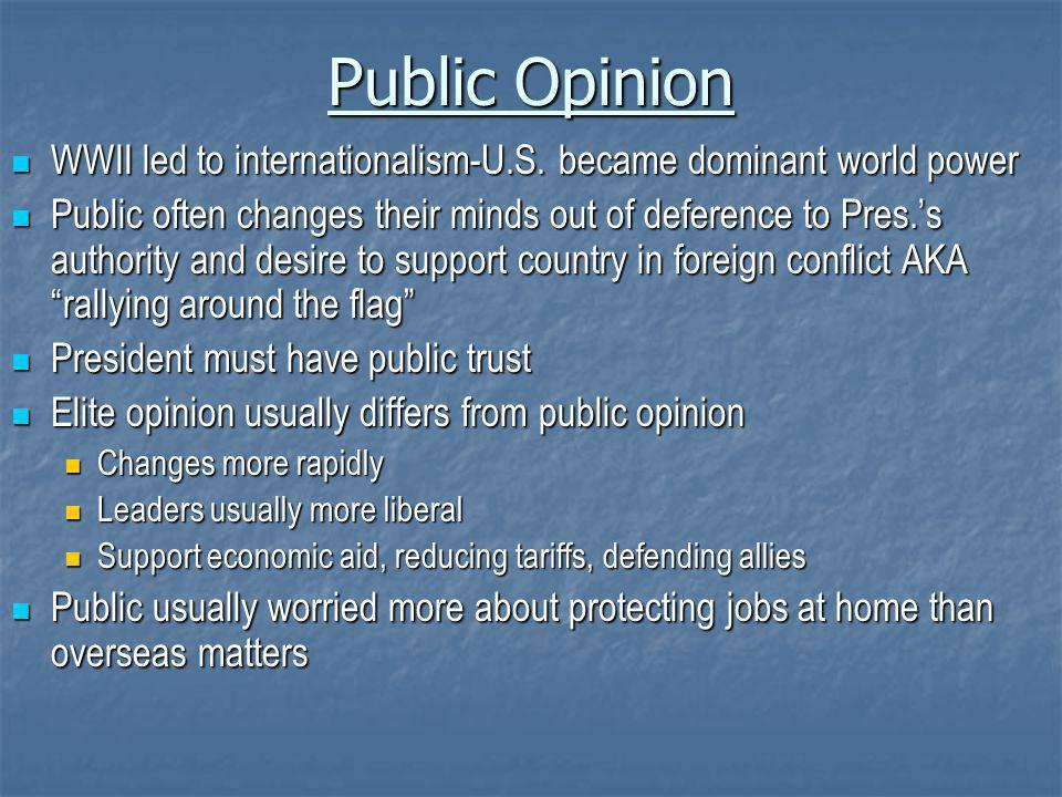 Public Opinion WWII led to internationalism-U.S.