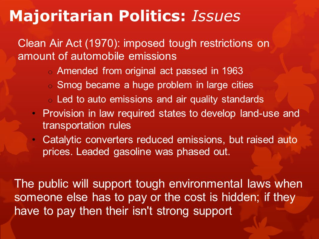 Majoritarian Politics: Issues Clean Air Act (1970): imposed tough restrictions on amount of automobile emissions o Amended from original act passed in 1963 o Smog became a huge problem in large cities o Led to auto emissions and air quality standards Provision in law required states to develop land-use and transportation rules Catalytic converters reduced emissions, but raised auto prices.