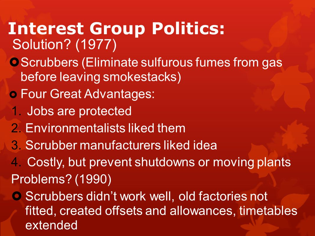 Interest Group Politics: Solution.
