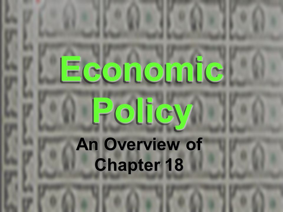 Economic Policy An Overview of Chapter 18