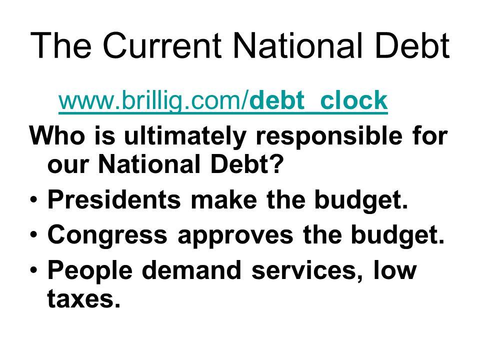 The Current National Debt www.brillig.com/debt_clock www.brillig.com/debt_clock Who is ultimately responsible for our National Debt.