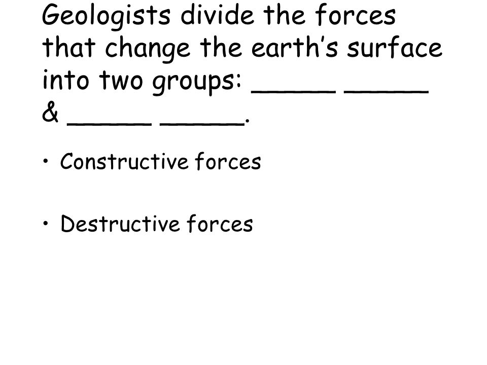 Geologists study the _____ and _____ characteristics of ______, the material that forms the surface of Earth. Chemical Physical Rock