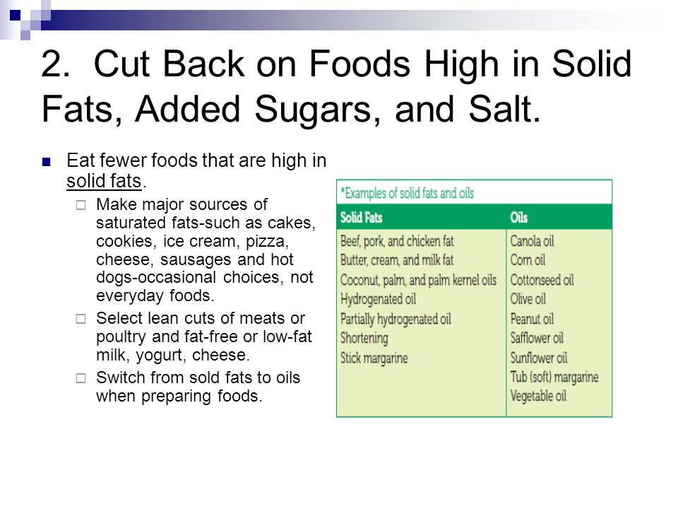 2.Cut Back on Foods High in Solid Fats, Added Sugars, and Salt.