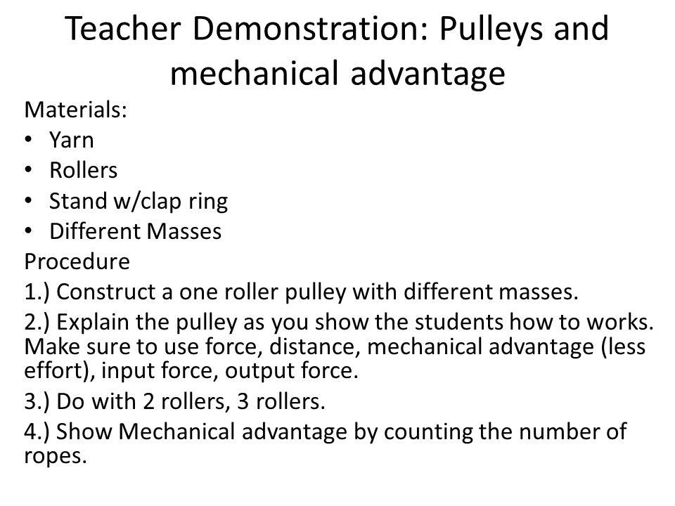 Exit Slip: MA Write the formulas for Mechanical Advantage