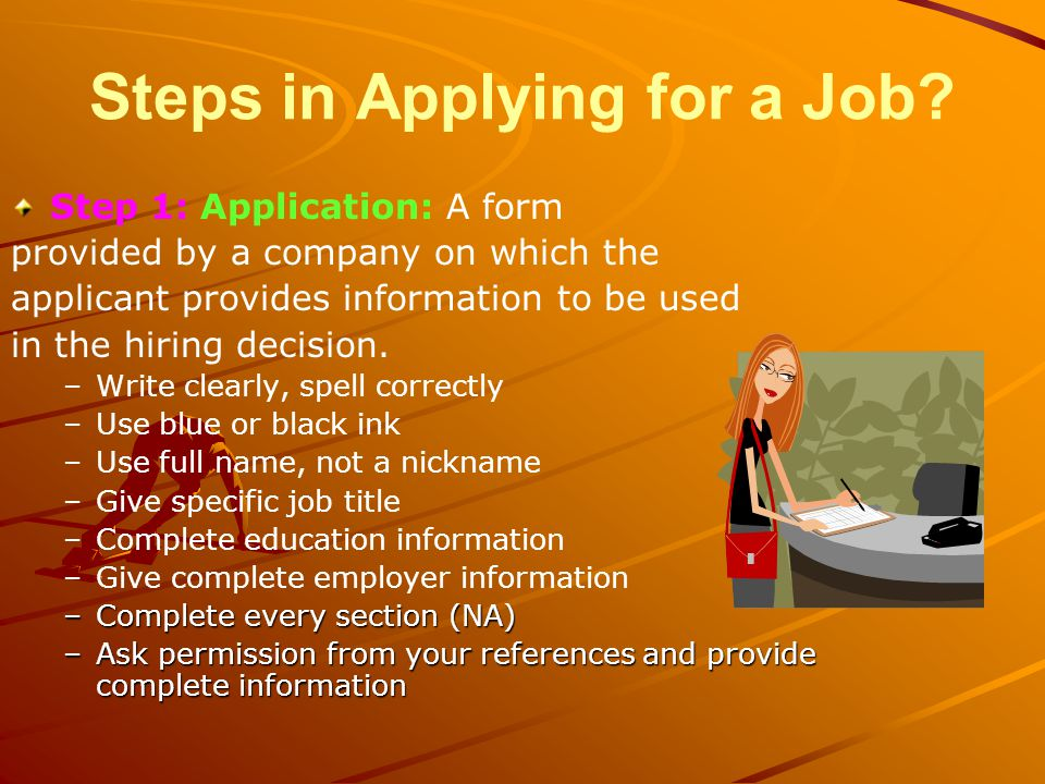 Steps in Applying for a Job.