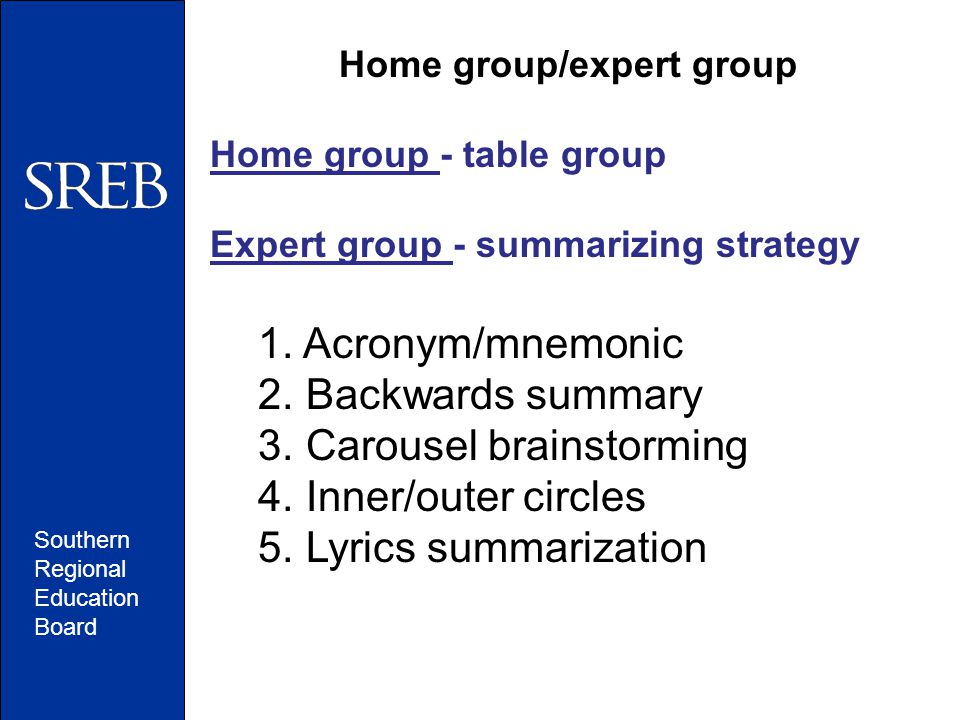 Southern Regional Education Board Home group/expert group Home group - table group Expert group - summarizing strategy 1.