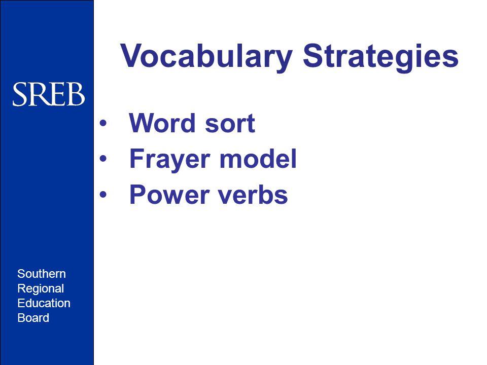 Southern Regional Education Board Vocabulary Strategies Word sort Frayer model Power verbs