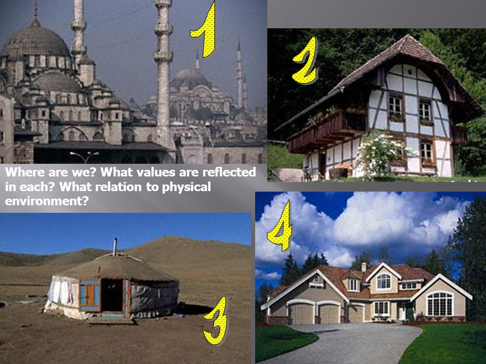 Where are we? What values are reflected in each? What relation to physical environment?