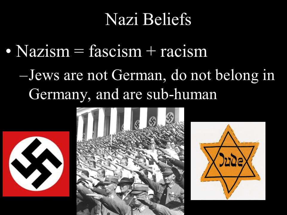 Nazi Beliefs Nazism = fascism + racism –Jews are not German, do not belong in Germany, and are sub-human