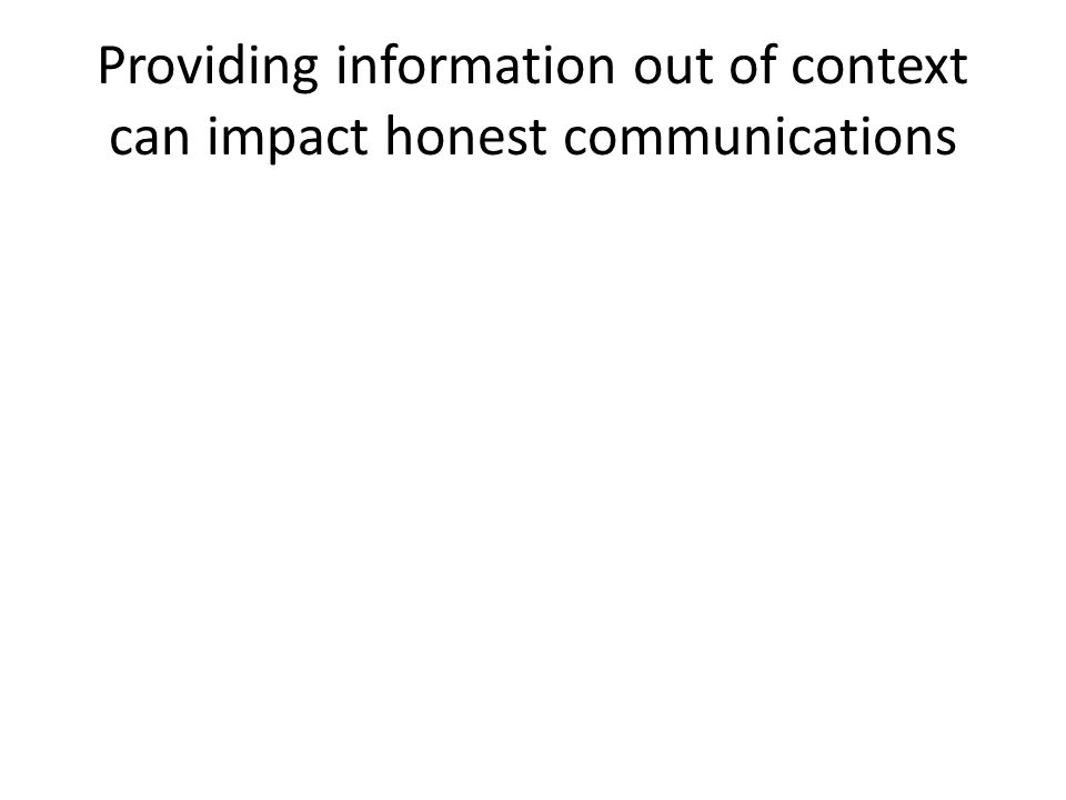 Providing information out of context can impact honest communications