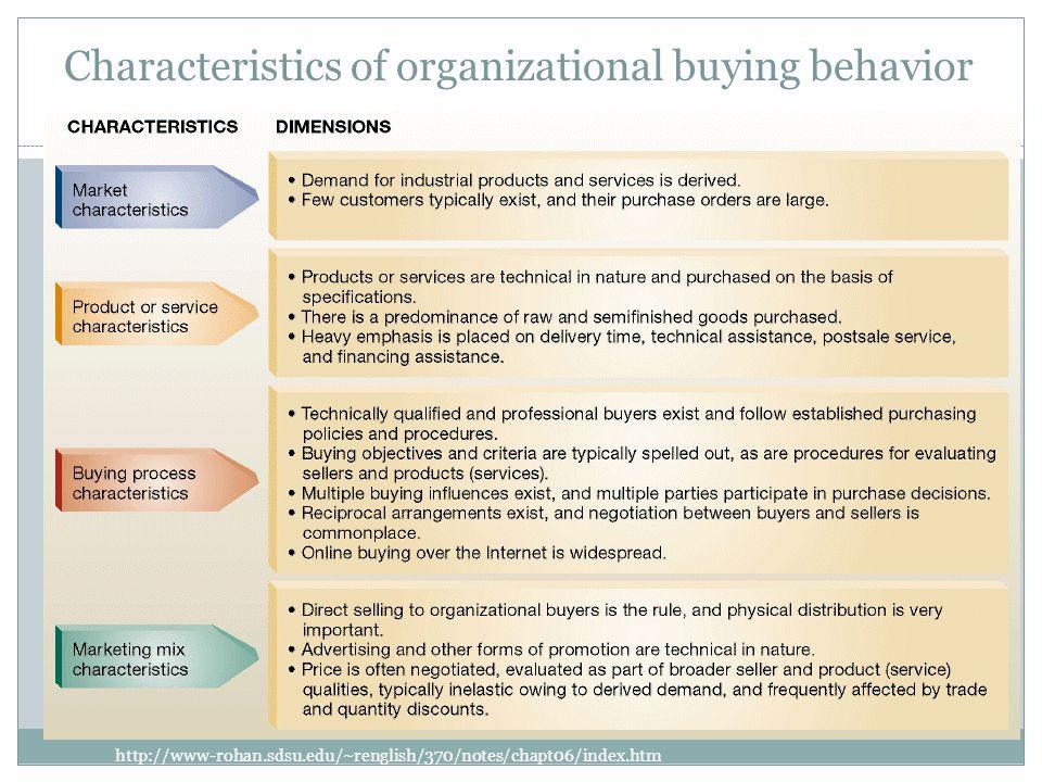 Characteristics of organizational buying behavior http://www-rohan.sdsu.edu/~renglish/370/notes/chapt06/index.htm CHARACTERISTICS OF ORGANIZATIONAL BUYING