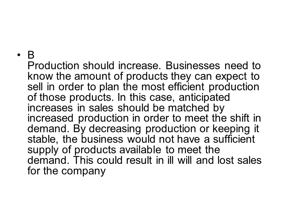 B Production should increase. Businesses need to know the amount of products they can expect to sell in order to plan the most efficient production of