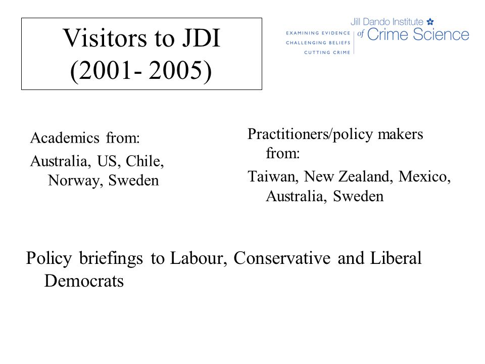 Visitors to JDI (2001- 2005) Academics from: Australia, US, Chile, Norway, Sweden Practitioners/policy makers from: Taiwan, New Zealand, Mexico, Australia, Sweden Policy briefings to Labour, Conservative and Liberal Democrats
