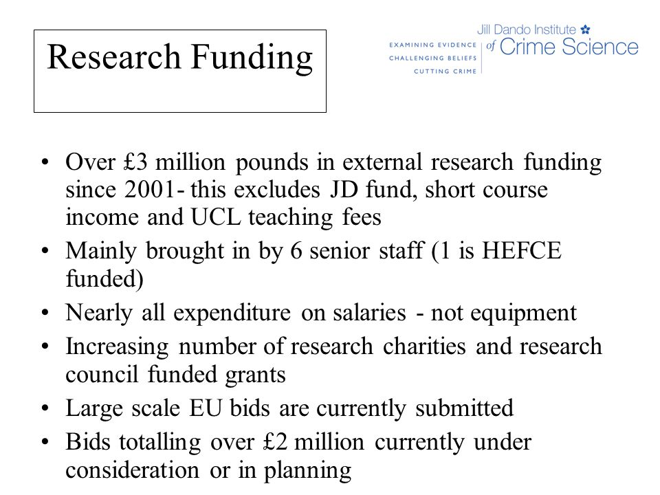 Research Funding Over £3 million pounds in external research funding since 2001- this excludes JD fund, short course income and UCL teaching fees Mainly brought in by 6 senior staff (1 is HEFCE funded) Nearly all expenditure on salaries - not equipment Increasing number of research charities and research council funded grants Large scale EU bids are currently submitted Bids totalling over £2 million currently under consideration or in planning