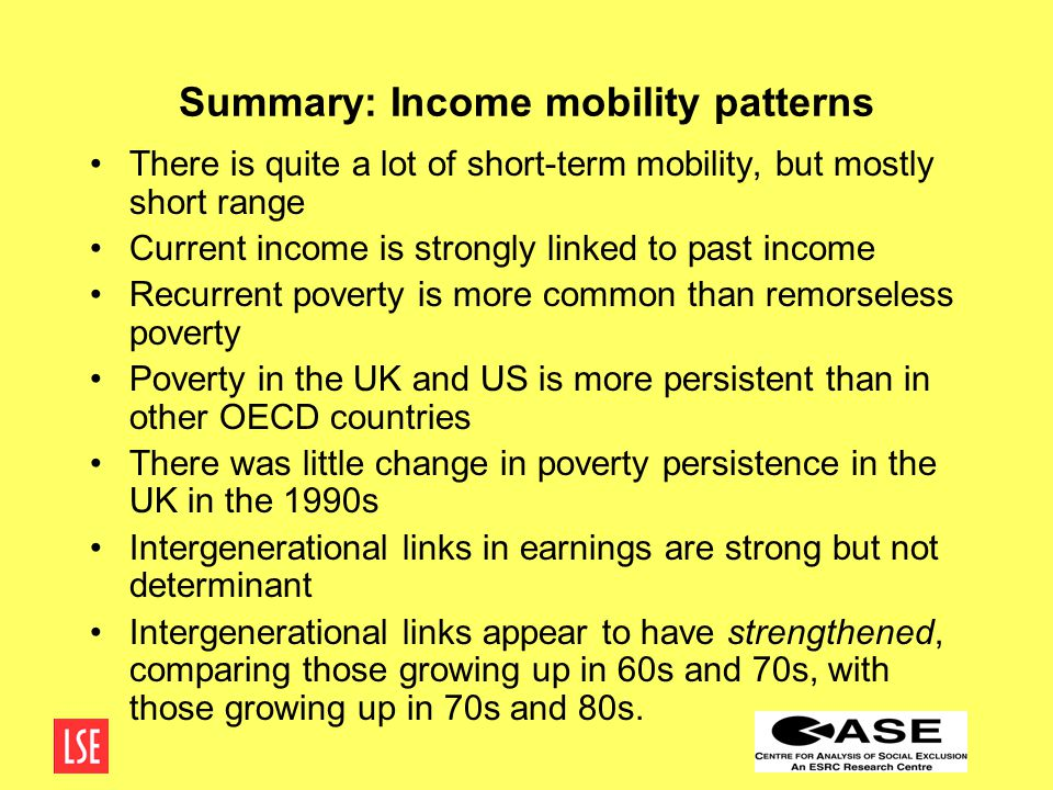 Summary: Income mobility patterns There is quite a lot of short-term mobility, but mostly short range Current income is strongly linked to past income Recurrent poverty is more common than remorseless poverty Poverty in the UK and US is more persistent than in other OECD countries There was little change in poverty persistence in the UK in the 1990s Intergenerational links in earnings are strong but not determinant Intergenerational links appear to have strengthened, comparing those growing up in 60s and 70s, with those growing up in 70s and 80s.