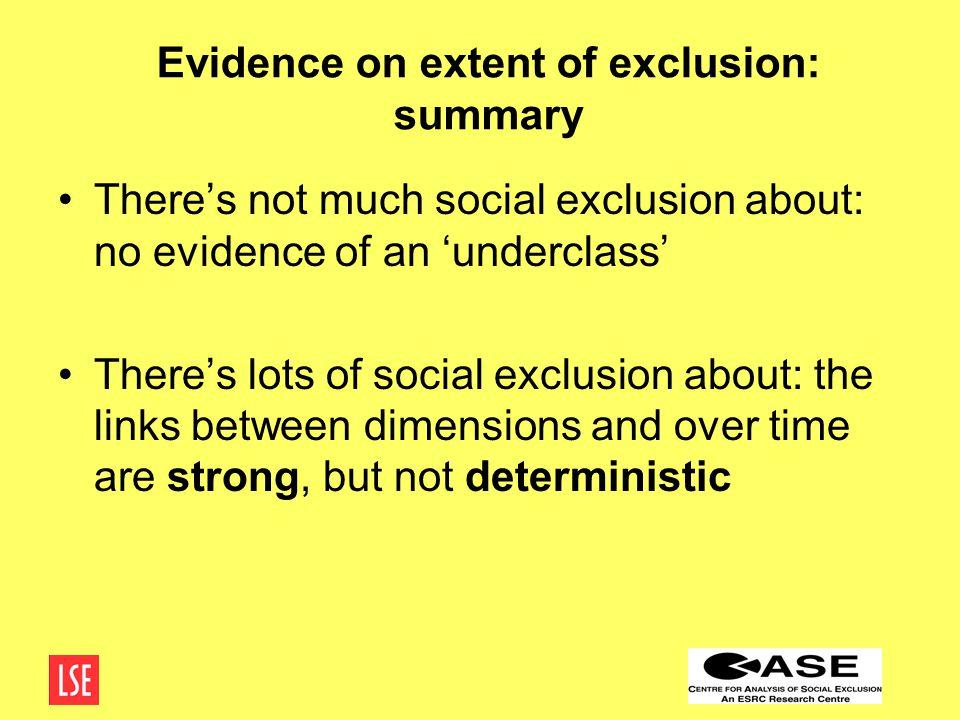 No evidence of an underclass.