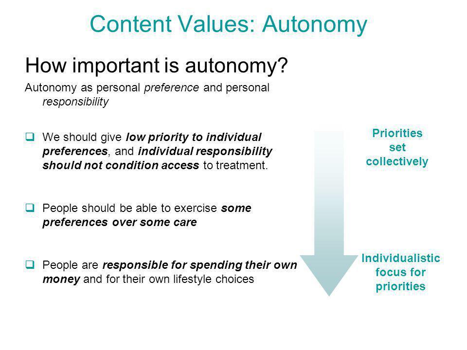 Content Values: Autonomy How important is autonomy.