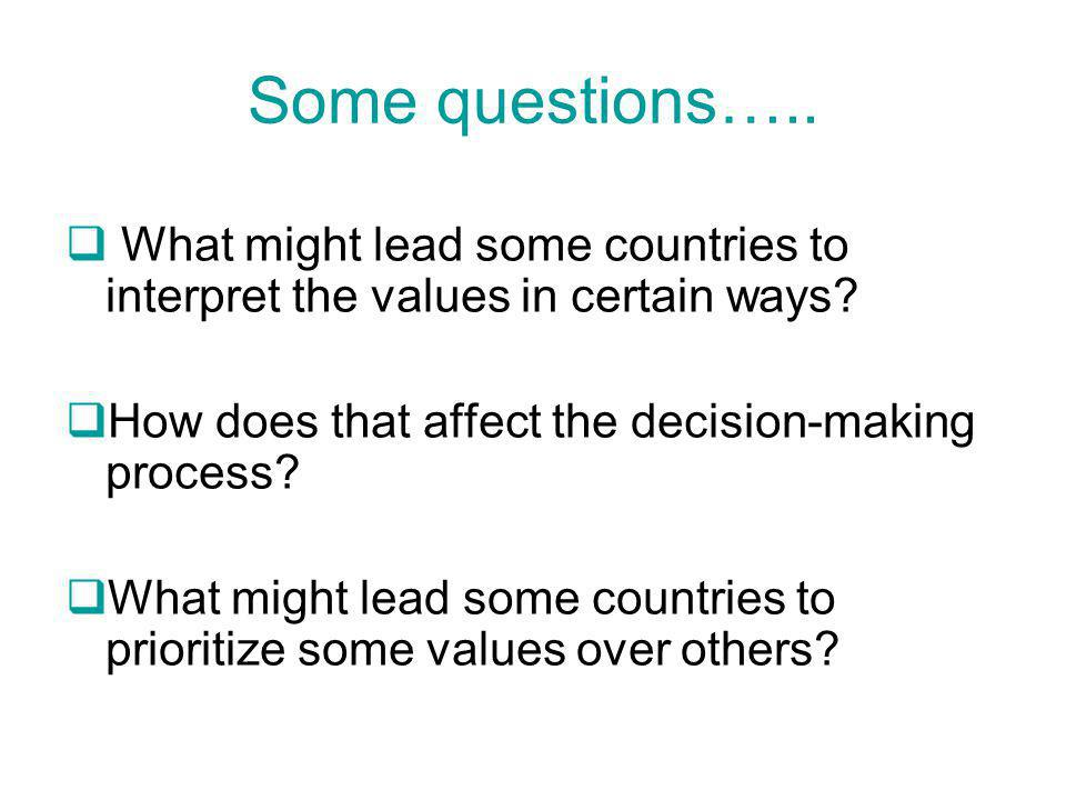 Some questions…..  What might lead some countries to interpret the values in certain ways.