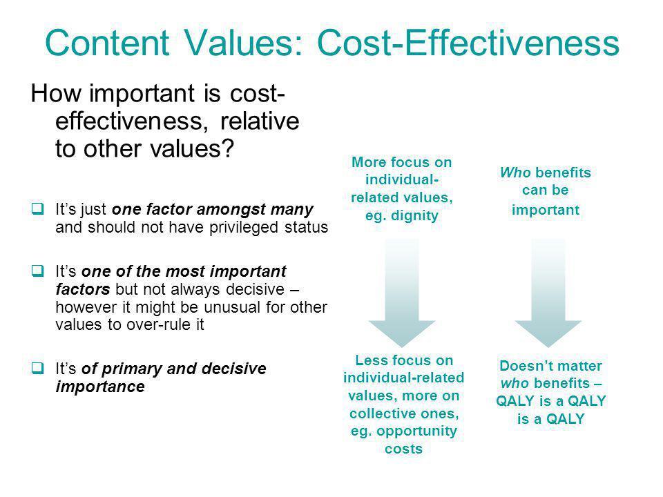 Content Values: Cost-Effectiveness How important is cost- effectiveness, relative to other values.